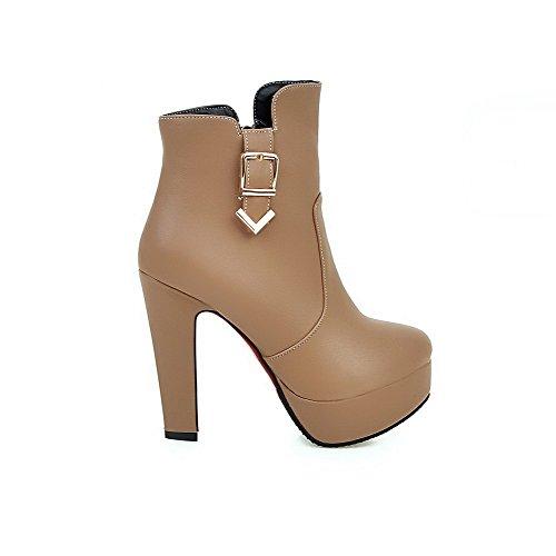 AllhqFashion Damen Reißverschluss Rund Zehe Niedrig-Spitze Stiefel mit Schnalle Aprikosen Farbe