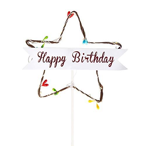 appy Birthday Cake Topper Licht Blau Stern Roten Kuchen Top Banner Dekoration für Hochzeit Party Supplies Ballon ()