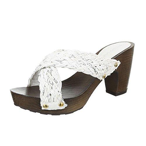 Pantoletten Damen Schuhe Jazz & Modern Pump Plateau Ital-Design Sandalen / Sandaletten Weiß