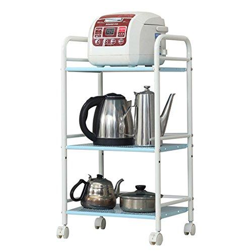 BOBE Shop- Estante del Horno de microondas Kitchen Metal 3 Floor Rack/Storage Rack - Wheeled (Color : Blanco, Tamaño : 40 * 32 * 75cm)