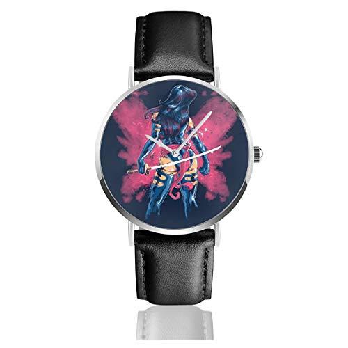 Unisex Business Casual X Herren PSY-Locke Butterfly Aura Uhren Quarz Leder Uhr mit schwarzem Lederband für Männer Frauen Junge Kollektion Geschenk
