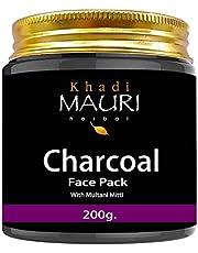 Khadi Mauri Herbal Charcoal Face Pack - De Tan & Skin Lightening - Enriched with Multani Mitti - 200 g