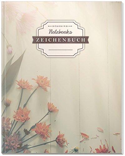 DÉKOKIND Zeichenbuch | DIN A4, 122 Seiten, Register, Vintage Softcover | Dickes Blanko-Notizbuch zum Selbstgestalten | Motiv: Blumig