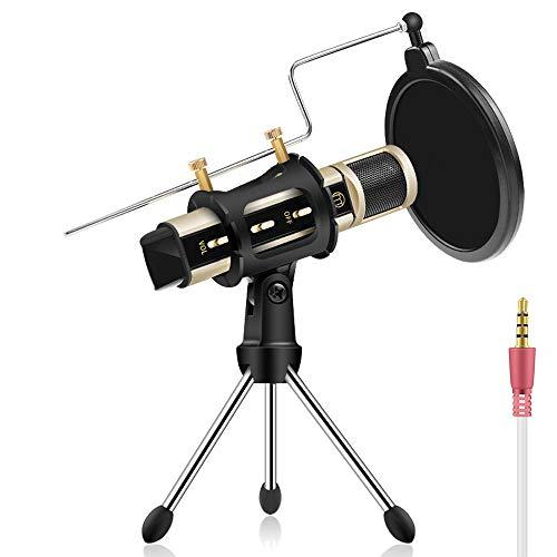 ZealSound Mini Kondensator Aufnahme Mikrofon, Karaoke Aufnahme Mikrofon Tragbar mit Stände für Gesang und Aufnahme Kompatibel mit iPhone, Android, iOS, Laptop, Tablet, PC - Gold
