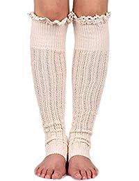 Spring Fever Crochet encaje algodón de punto calentadores de la pierna Calcetines de arranque