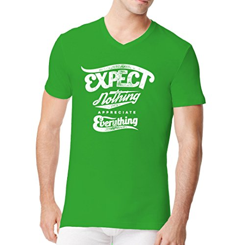 Fun Sprüche Männer V-Neck Shirt - Fun Motiv Expect Nothing by Im-Shirt Kelly Green