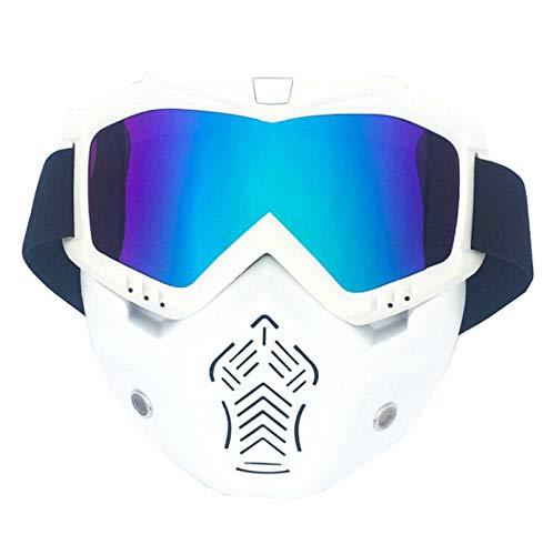 Amody Skibrillen Motorradmaske Personality Retro Halb Helm Face Protection Off-Road Riding Goggles Skiing Männer Frauen Gläser Vertikales Weiß Multicolor