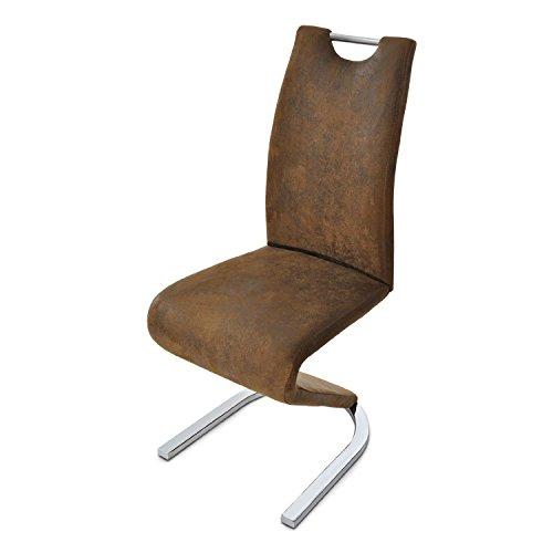 SAM Freischwinger Stuhl Tara in Wildlederoptik mit Stoffbezug mit Einem chromfarbenen Gestell Fuß in Einer Modernen U - Form