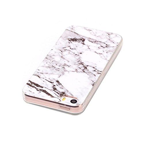 iPhone Case Cover Pour iPhone 5 & 5s & SE Marbling noir motif Soft TPU étui de protection arrière ( SKU : Ip5g1496a ) Ip5g1496d