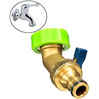 Bluelover 3/4 di pollice in ottone acqua tubo rubinetto gomito connettore giardino irrigazione con valvola
