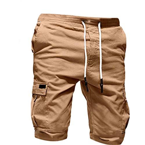 Cargo Shorts Herren Pure Farbe Bandage Beiläufig Lose Tunnelzug Jogginghose Shorts Hose