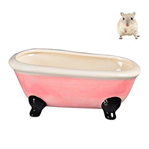 petacc Bañera de cerámica Hamster Hamsters de lujo Bañera de verano Summer Pet Tubes de refrigeración para Hamster and Squirrels (Rosado)