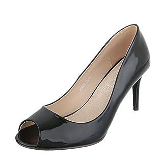 Peep Toe Damen-Schuhe Peep-Toe Pfennig-/Stilettoabsatz High Heels Ital-Design Pumps Schwarz, Gr 37, Mm09-