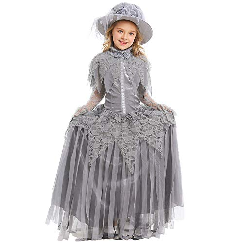QYS Kleine Braut Hochzeitskostüm Ghastly Ghost Bride Outfit Skelett Zombie Braut Kostüm,L