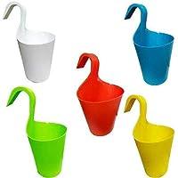 Souxe Multicolour Hook Flower Pots, Vertical Hook for Home Gardening/Balcony Railing (Set of 5)