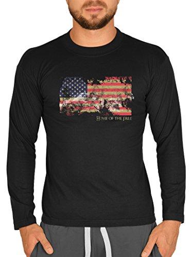 USA Fun Langarmshirt longsleeve Flagge Home of the free für Männer Herren Farbe schwarz American Style Schwarz