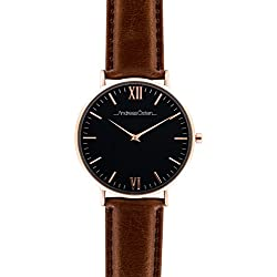 Andreas Osten Mens Gents Rose Gold Bezel Brown Leather Wrist Watch A0-88