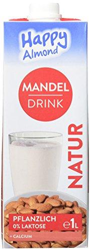 Happy Milchalternativen Mandel Drink Natur - Mandelmilch, Vegan, Laktosefrei  -  Intensiv nussiger Geschmack - 10er Pack (10x1l)