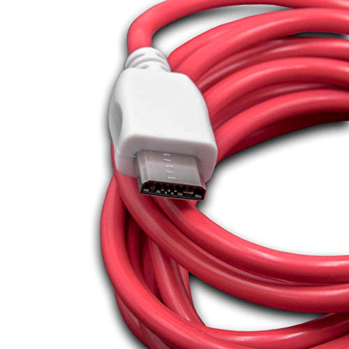 vhbw Cable USB, Cable de Carga 2 0 m Rojo/Blanco para Tablet Pad Nabi  DreamTab, Nabi 2S, Nabi XD, Tablet niños Nabi Jr, Nabi Elev-8