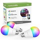 Novostella 3PCS Ampoule Connectée Alexa, RGBCW 2700K-6500K Dimmable, E27 LED Compatible avec Google Home IFTTT, Lampe d'Ambiance Intelligente WiFi Couleur, 7W Équivalent 60W