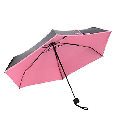 FakeFace Damen Mädchen Mini Regenschirm Sonnenschirm aus Nylon 5 Stufen Faltbar UV-Schutz Schirm Manuell Öffnen für Outdoor Camping- Ultra Leicht und Dünn