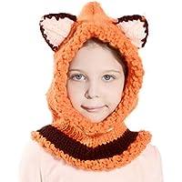 Richoose hiver chaleureux Coif Hood Écharpe Casquettes Hat Earflap Fox  tricoté châles de laine Casquettes Chapeaux 50e2d74c5f6