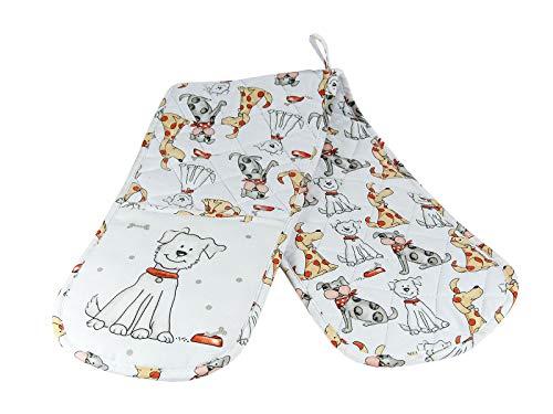 Hitzebeständig Doppelte Ofenhandschuhe Verdickte Hitzeresistente Topflappen Backhandschuhe aus Qualitäts Weiß Baumwolle mit Süß Hund-Motiv Tier Design für Hundeliebhaber Geschenk (Süßes Geschirr Für Hunde)