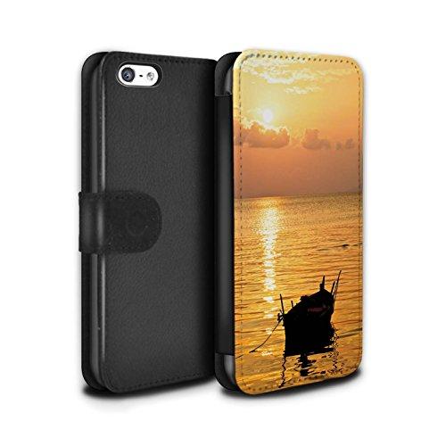 STUFF4 PU-Leder Hülle/Case/Tasche/Cover für Apple iPhone 5C / Blaues Meer Muster / Sonnenuntergang Kollektion Fischerboot