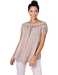 KRISP Damen Leichte Kurzarm Bluse Lockeres Tunika Shirt