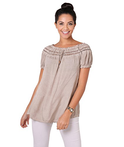KRISP 6888-TAU-SM Damen Kurzarm Bluse Tunika (Braungrau, Gr. S/M) (Hippie Shirt Tunika)
