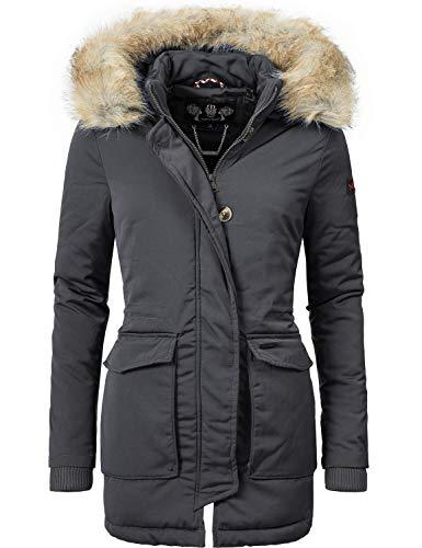 Navahoo Damen Winter-Jacke Winter-Mantel Schneeengel (vegan hergestellt) Anthrazitgrau Gr. S