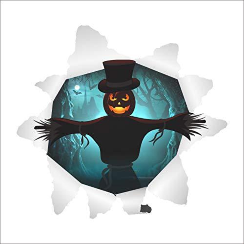 FangfangGAO Wallpaper 3D Halloween Wandaufkleber, kreative Horror Hexe Geist Kürbis Kopf Wandbild
