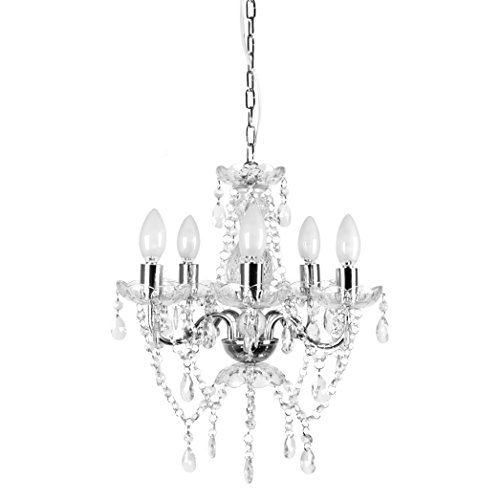 Tadpoles 5 Bulb Genuine Grand Chandelier, Clear Crystal