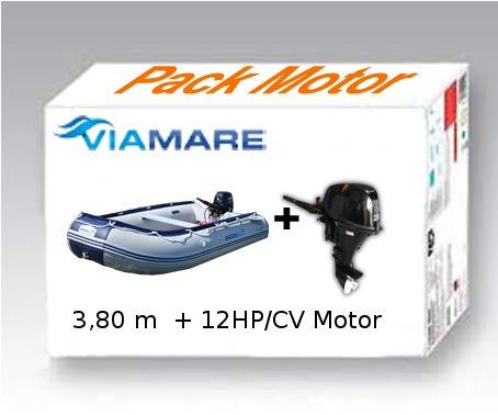 Viamare Pack Embarcacion Lancha neumatica, Barca Hinchable, Barco con Motor fueraborda 3.80m...