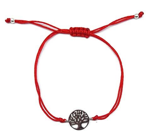 Imagen de mystic jewels by dalia  pulsera 925 plata de ley  arbol de la vida  macrame hilo rojo  ajustable  para regalar hilo rojo  plata