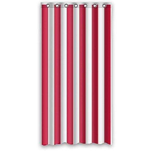 DOUBEE Weiß und Rot Gestreifte Regenbogen Wasserdicht Polyester Duschvorhänge Haltbarer Shower Curtain 36