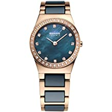 Bering Time Damen-Armbanduhr Analog Quarz Edelstahl beschichtet 32426-767