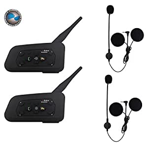 2 x bt bluetooth motorrad helm interphone intercom headset 6 fahrer 1200 m elektronik. Black Bedroom Furniture Sets. Home Design Ideas