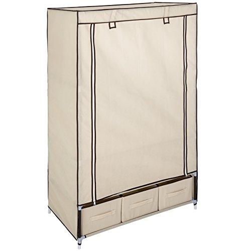 TecTake Armadio salvaspazio guardaroba cabina appendiabiti in tessuto | 3 scomparti a cassetto | 87 x 159 x 49 cm | disponibile in diversi colori (Beige | No. 402533)