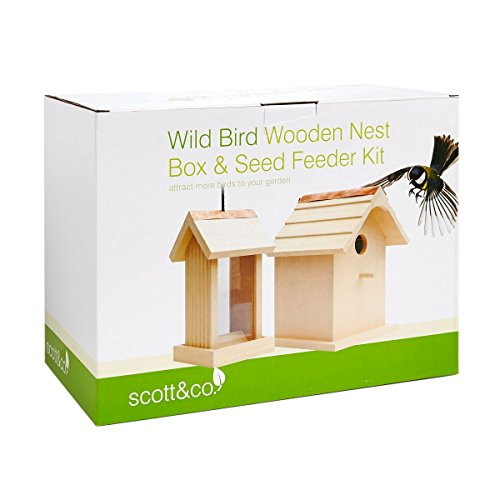 Scott & Co Wooden Bird Nesting Box/House and Seed Feeder Set - Natural
