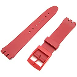 New RED Generic 17mm Fitting (20mm) Sized Resin Strap Compatible for Swatch® Watch