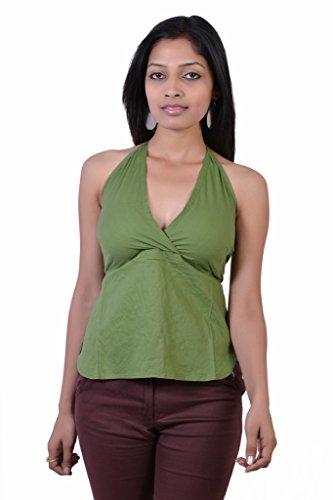Jaipur Kala Kendra Women's Cotton Beachwear Tank Top Casual Wear Top Medium Green