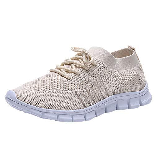 Damen Laufschuhe Fliegen Weben Sneaker Socken Schuhe Turnschuhe Freizeitschuhe Student Leichte Sportschuhe für Trainning Running Fitness Gym Walking Jogging Laufen, Beige, 36 EU
