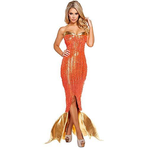 Meerjungfrau Schwanz Aqua Prinzessin Königin Rock PU Leder Gold Orange Farbe Mädchen Halloween Weihnachten Cosplay Cartoon Kostüm Bikini Party Charming (Size : S) ()