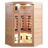 Infrarotkabine Infrarotsauna Traditionelle Sauna Saunahaus Wärmekabine Eckkabine Ecksauna Keramikstrahler Hemlock-Holz für 3 Personen mit 10 Strahler