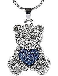 Silvity Halskette Herz-Teddy Anhänger