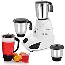 BMS Lifestyle Turbo All-in-One TAM-001 750-Watt Mixer Grinder With 3 Stainless Steel Jars With Liquid Juicer Jar, 4-Jar, White & Purpal