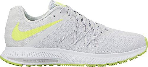 Nike Wmns Zoom Winflo 3, Écharpe De Corsa Donna Multicolore (gris / Vert / Pure Platine / Volt / Blanc / Blanc)