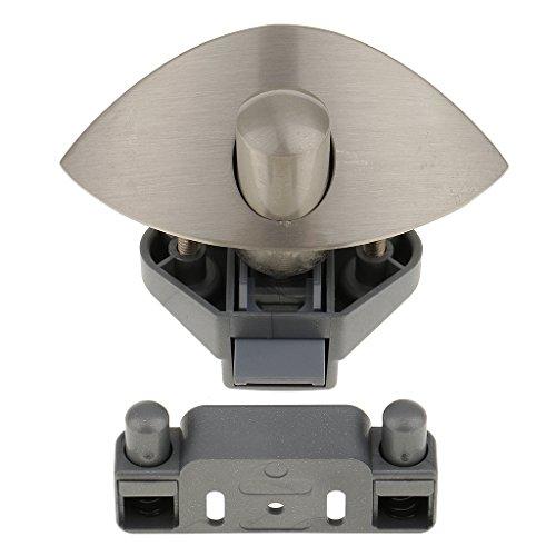 H HILABEE Zinklegierung Push Button Cabinet Latch Für RV Camper, Schrank Türknauf Latch Lock Mit Half Moon Griff - Nickel