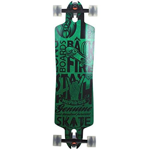 Downhill Longboard Backfire Green Drop Through 91 cm Freeride Skateboard W-Concave Rocker Shape, Farbe:Grün